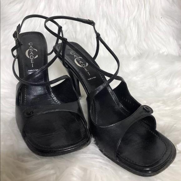 Casadei Black Strappy Square Toe Heels